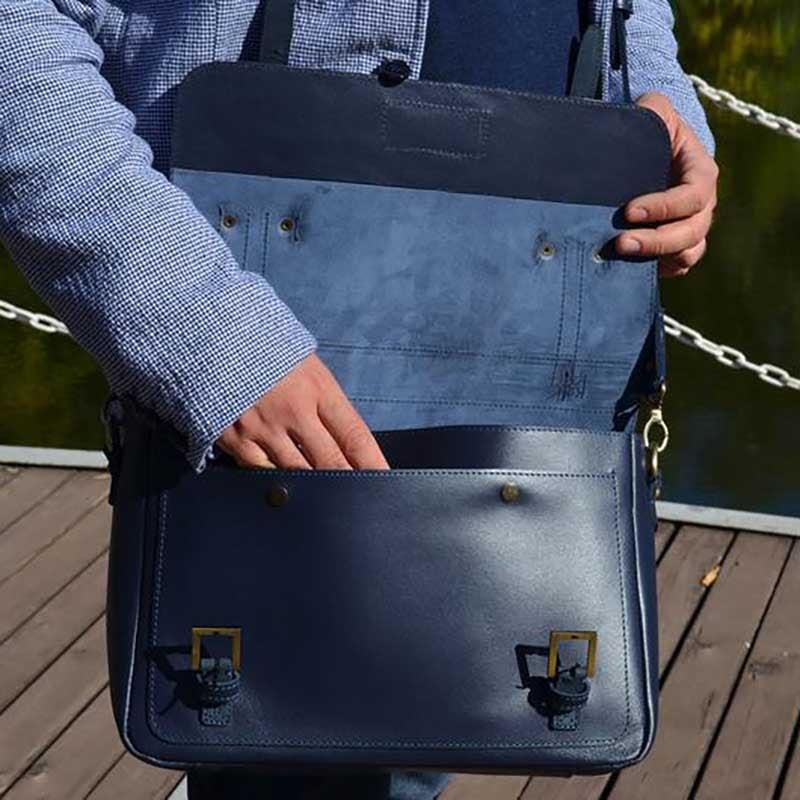 Чоловіча сумка Messenger bag Naval blue leather