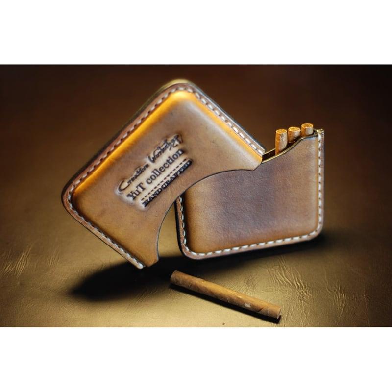 Шкіряний портсигар Cafe Creme brown leather