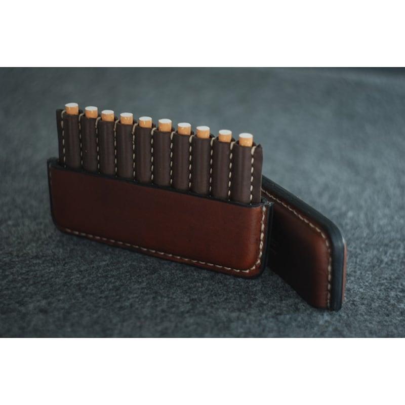 Кожаный авторский портсигар Tunis brown leather
