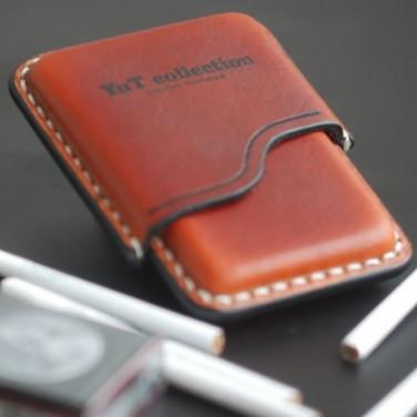 Шкіряний портсигар Slim red leather