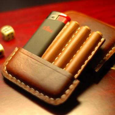 Портсигар кожаный Trinité brown leather