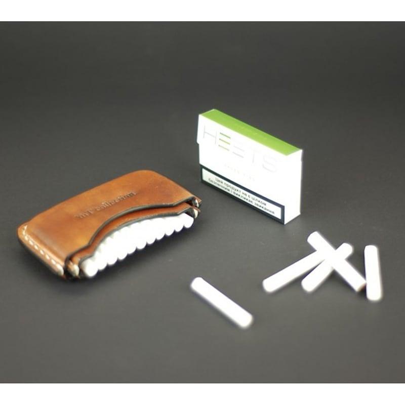 Кожаный портсигар IQOS HEETS 12 brown leather
