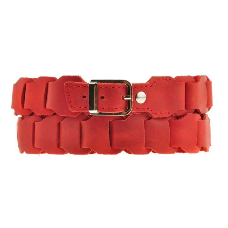 Кожаный ремень женский для джинс Boho Shic Red Leather