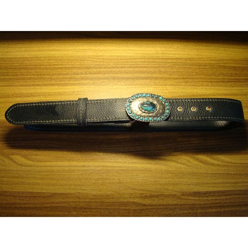Шкіряний ремінь Вelt Сомрапіоп Gray Вlue Leather