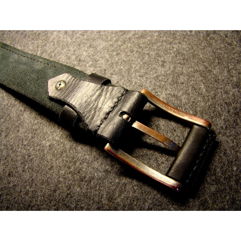 Шкіряний ремінь ручної роботи Classic Black Leather