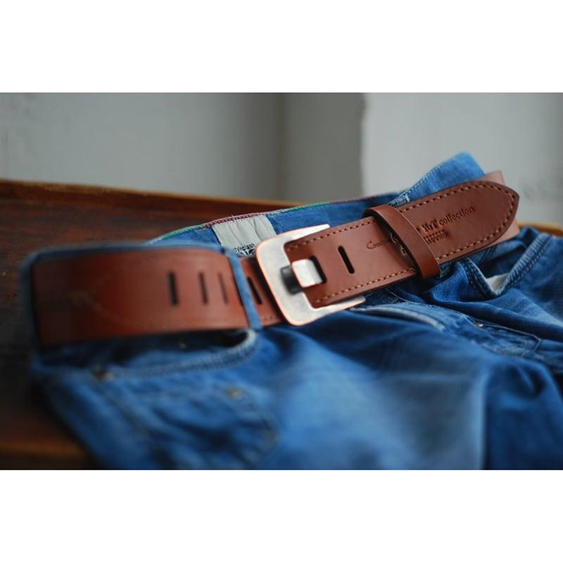 Чоловічий шкіряний ремінь ручної роботи Calvados Brown Leather