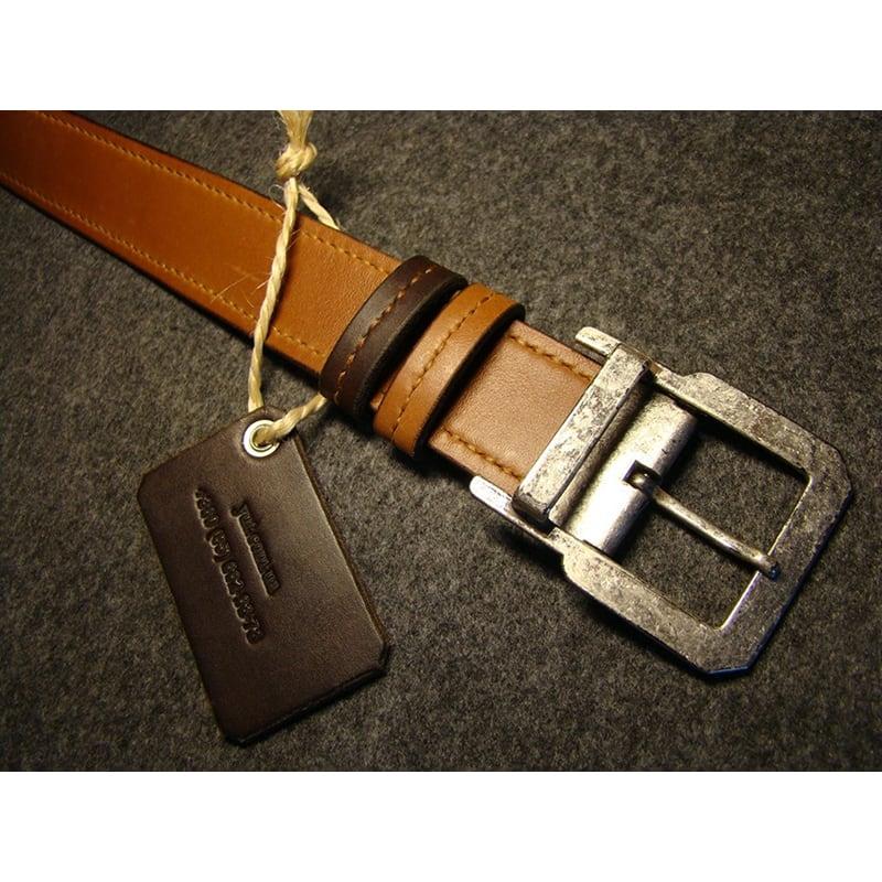 Шкіряний ремінь ручної роботи Double Brown Leather