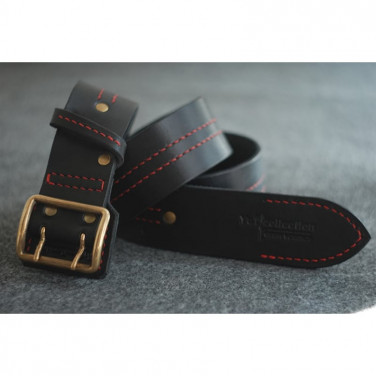 Кожаный ремень ручной работы Severe Black Leather