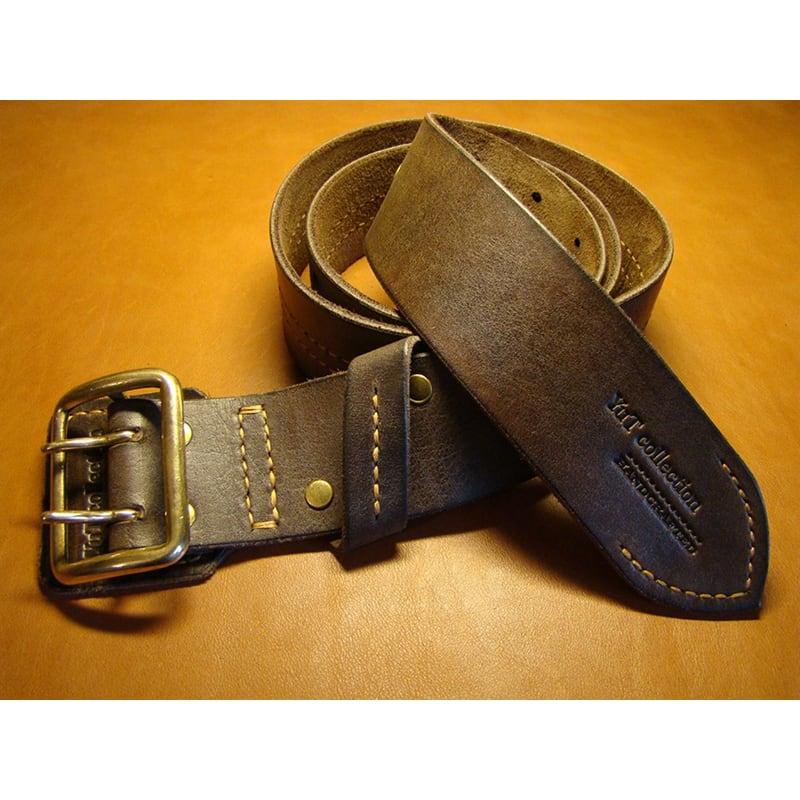 Шкіряний ремінь ручної роботи Double Сlasp Brown Leather
