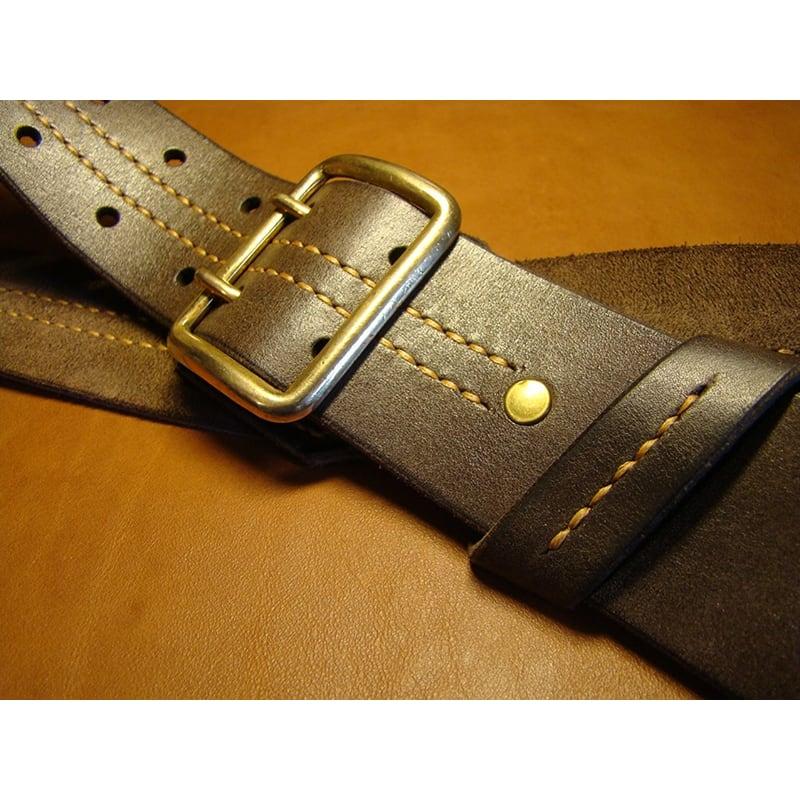 Кожаный ремень ручной работы Double Сlasp Brown Leather