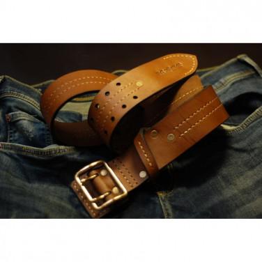 Мужской кожаный ремень Double Vintage Brown Leather