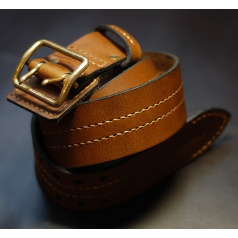 Чоловічий шкіряний ремінь Double Vintage Brown Leather