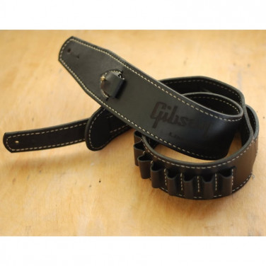 Кожаный ремень для гитары Gibson Black Leather