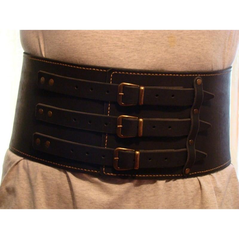 Шкіряний ремінь ручної роботи Cheres Black Leather