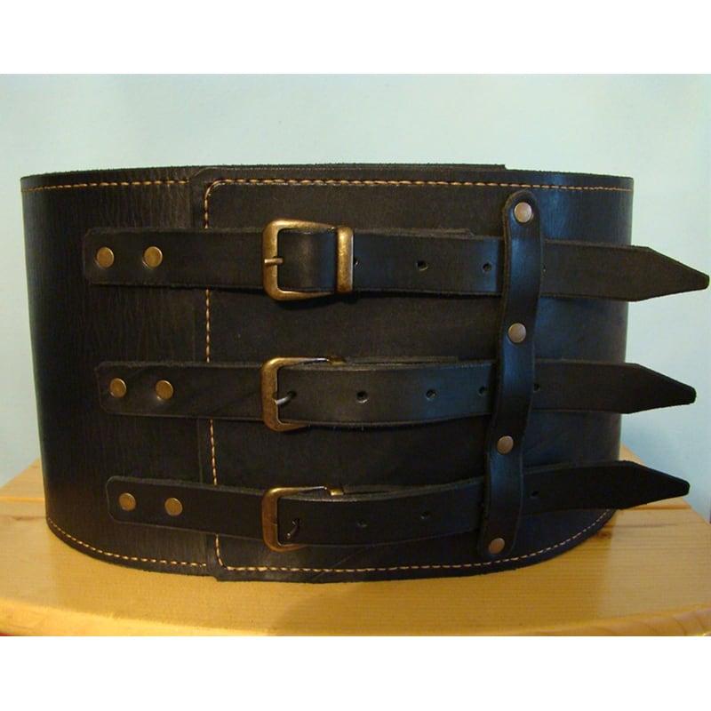 Кожаный ремень ручной работы Triple Cheres Black Leather