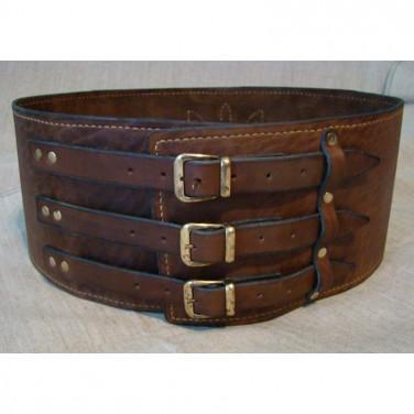 Шкіряний ремінь ручної роботи Vintage Cheres Brown Leather