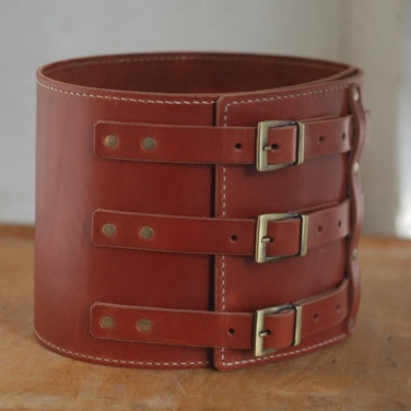 Шкіряний ремінь ручної роботи Wide Cheres Red Leather