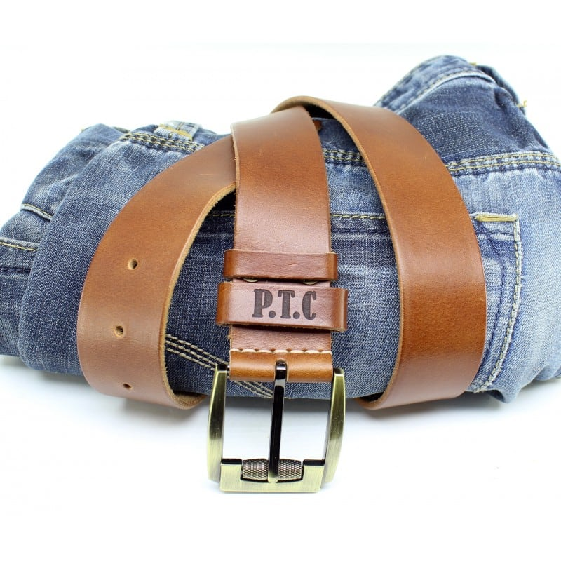 Ремень мужской Belt Personal Brandy brown leather