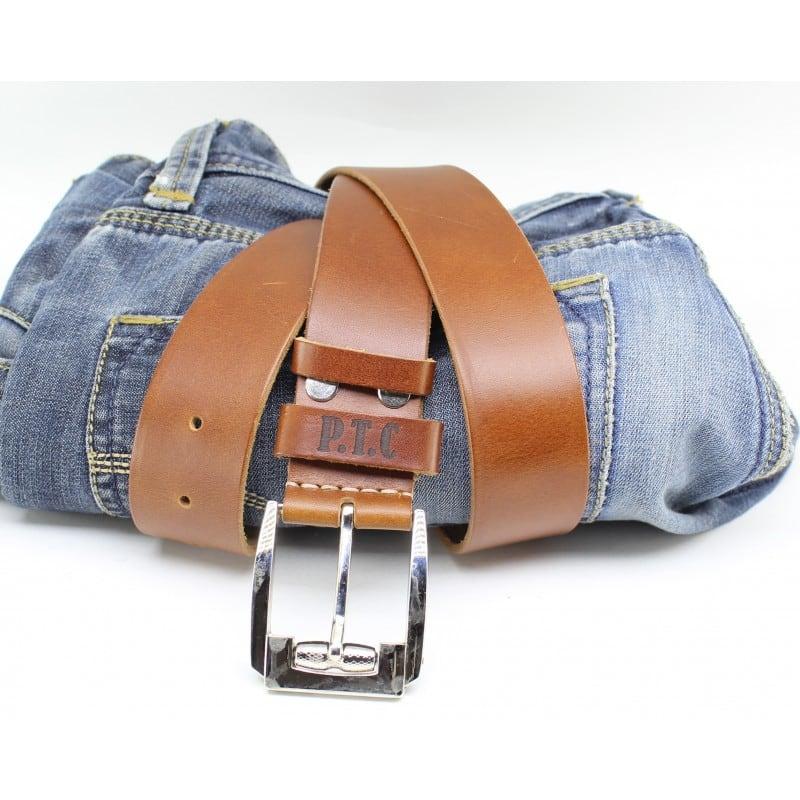 Кожаный ремень Belt Personal Ocher brown leather