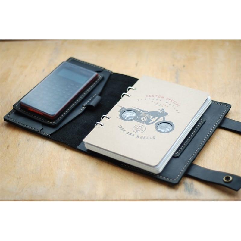 Шкіряний блокнот ручної роботи Fort Worth black leather