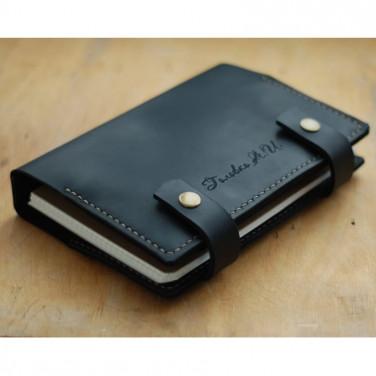 Кожаный блокнот ручной работы Fort Worth black leather