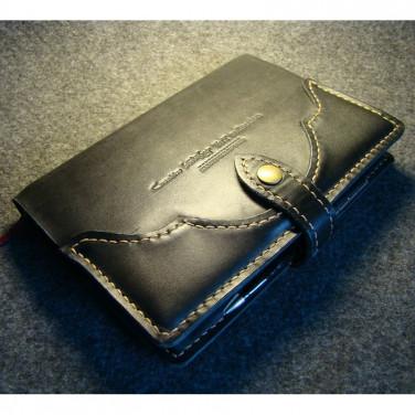 Обложка кожаная на блокнот А5 Frisco black leather