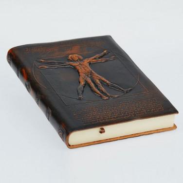 Блокнот в кожаном переплете Vitruvian Man brown leather