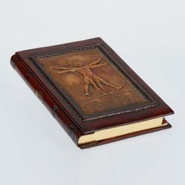 Ежедневник в кожаной обложке Vitruvian Man brown leather