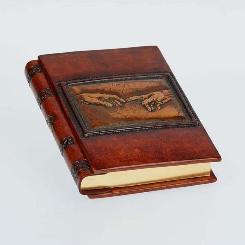 Кожаный блокнот handmade мужской Criation brown leather