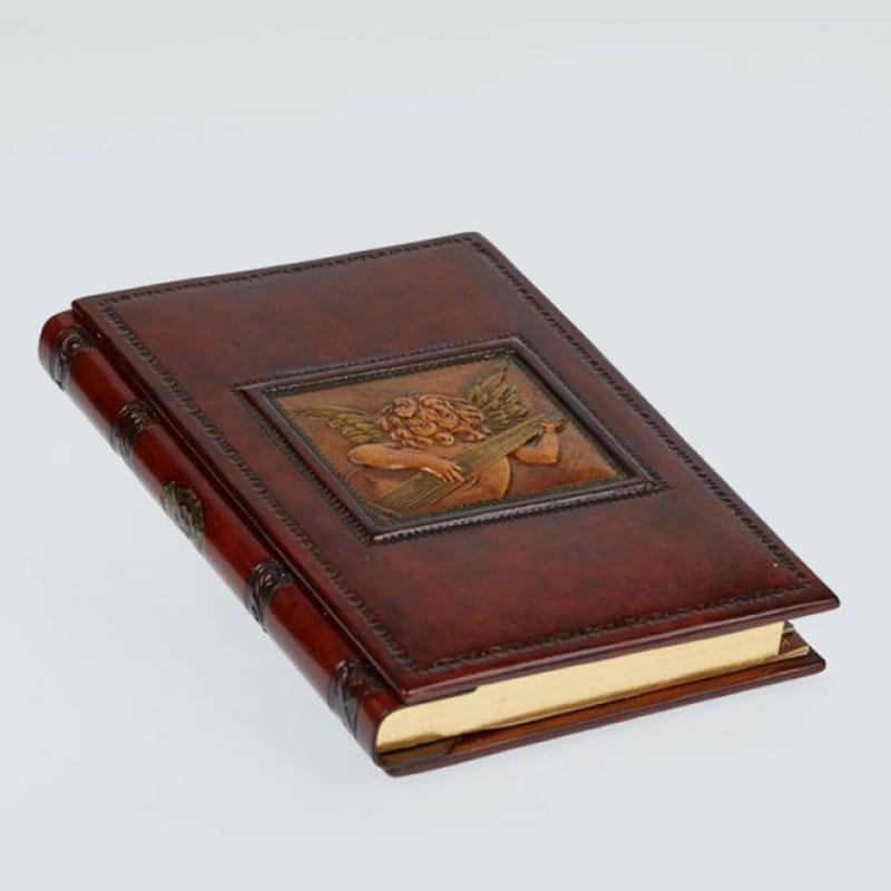 Адресная книга в кожаном переплете Angel with Lute brown leather