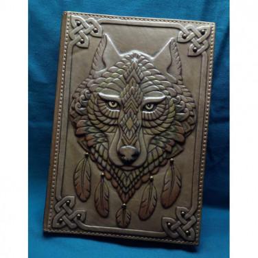 Ежедневник в кожаной обложке мужской Кельтский Волк brown leather