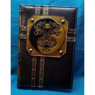 Блокнот в шкіряній палітурці Дракони Ін Янь brown leather