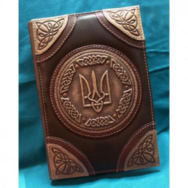 Шкіряний блокнот ручної роботи чоловічий Тризуб brown leather