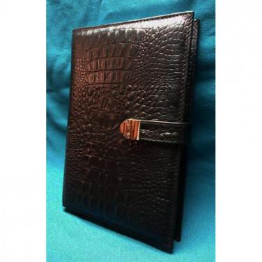 Кожаный блокнот ручной работы мужской Alligator black leather