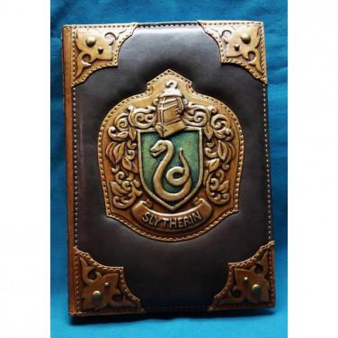 Шкіряний блокнот handmade чоловічий Слізерін brown leather