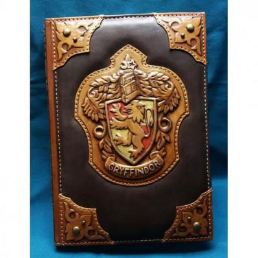 Блокнот в шкіряній палітурці чоловічий Грифіндор brown leather