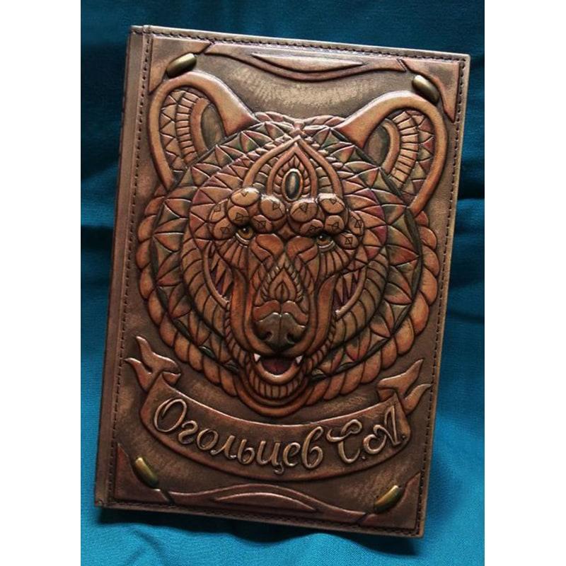 Блокнот в кожаном переплете Медведь brown leather