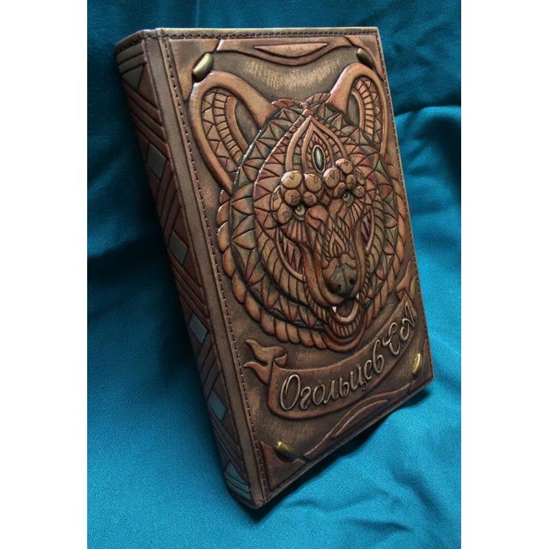 Блокнот в шкіряній палітурці Ведмідь brown leather
