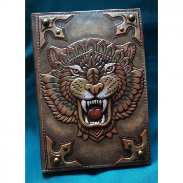 Шкіряний блокнот чоловічий Тигр brown leather