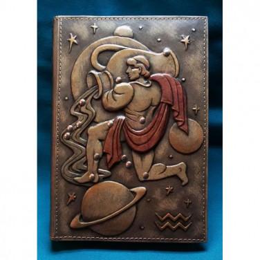 Блокнот кожаный мужской Водолей brown leather