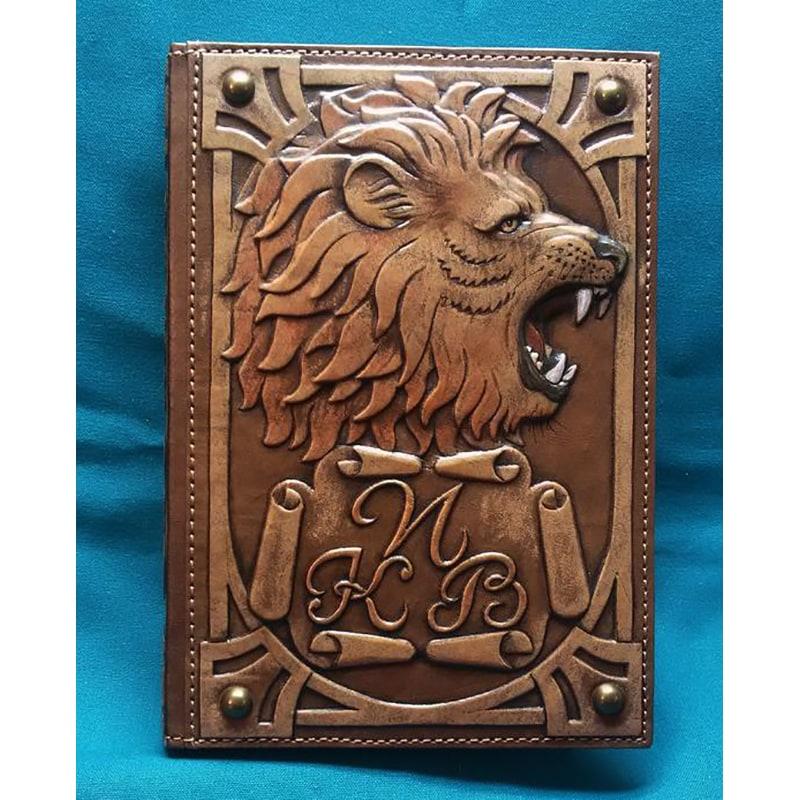 Шкіряний блокнот ручної роботи Цар Звірів brown leather