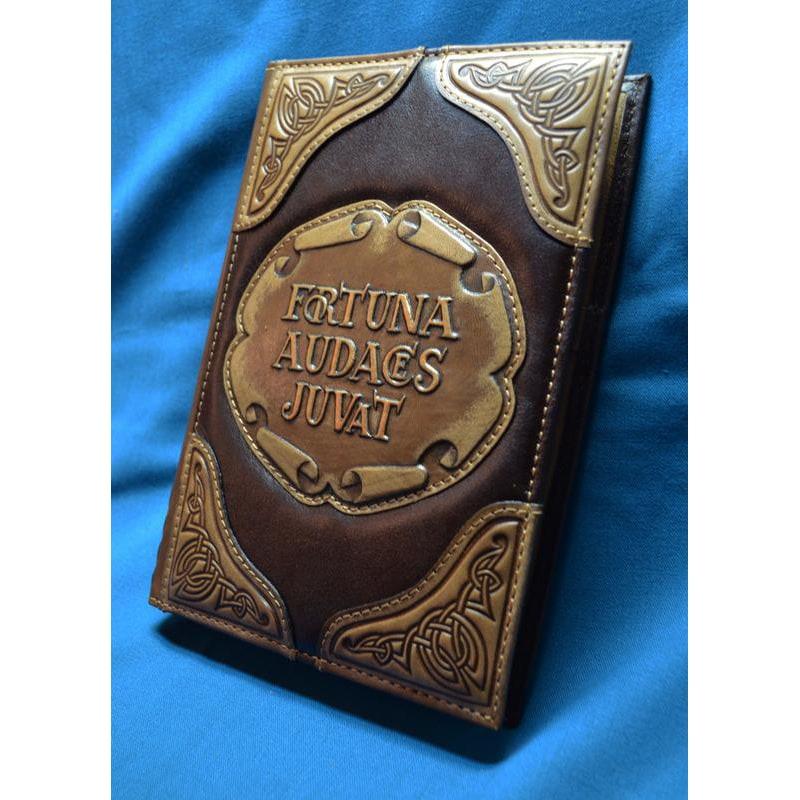Блокнот шкіряний чоловічий AUDACES FORTUNA JUVAT brown leather