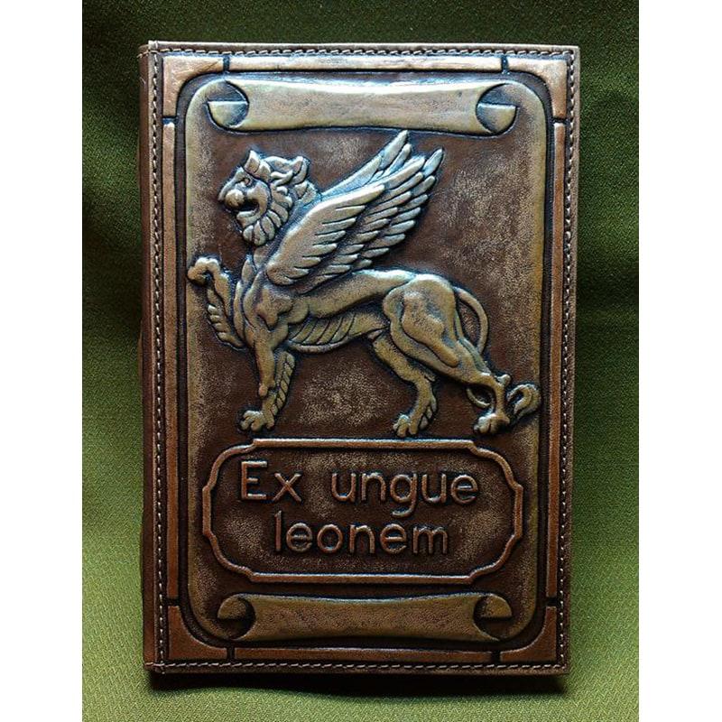 Блокнот в кожаном переплете EX UNGUE LEONEM brown leather