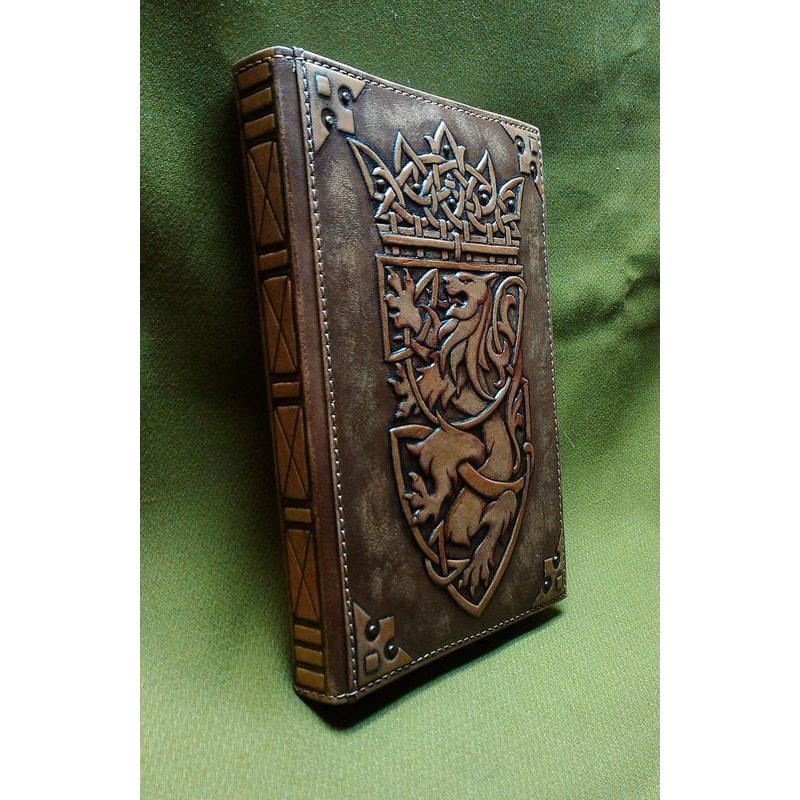 Кожаный блокнот handmade Геральдический Лев brown leather