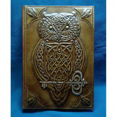 Ежедневник в кожаной обложке Кельтская Сова brown leather