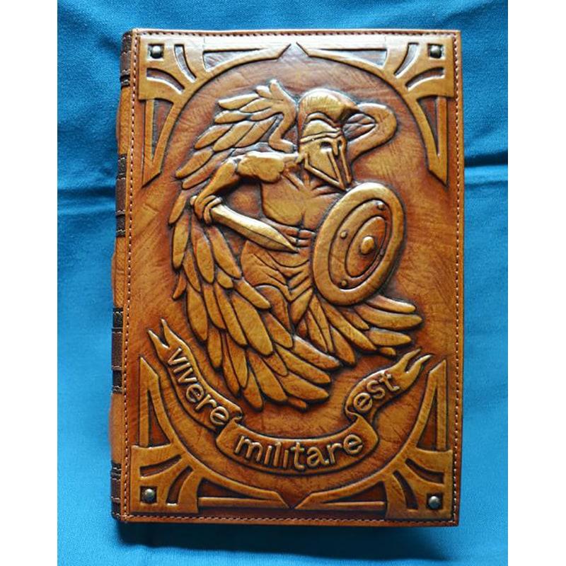 Шкіряний блокнот handmade Vivere Мilitare Еst brown leather