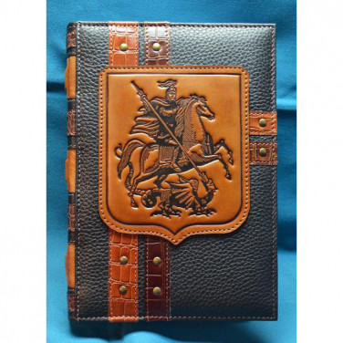 Шкіряний блокнот ручної роботи Святий Георгій Побідоносець brown leather