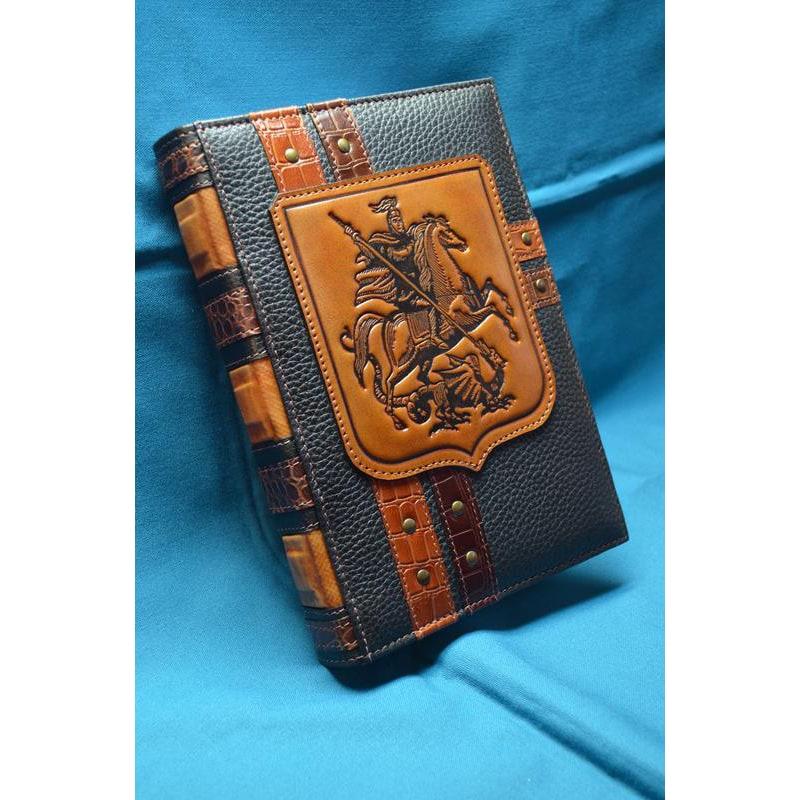 Кожаный блокнот ручной работы Святой Георгий Победоносец brown leather