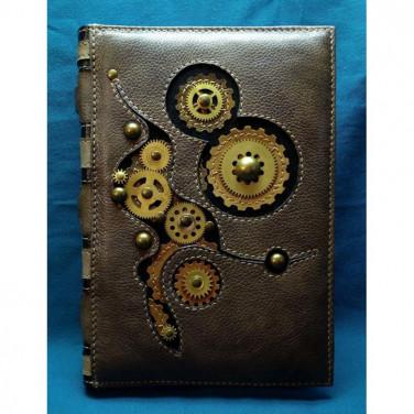 Блокнот кожаный мужской Стимпанк brown leather