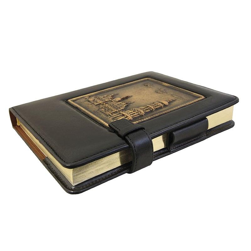 Ежедневник в кожаном переплете Lavra black leather